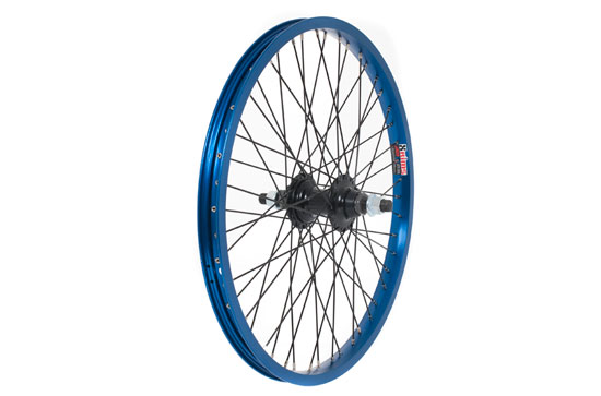 Anodised BMX Wheel, 14mm Axle, FRONT - Blue