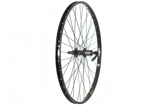 26 x 1.75 Rear Wheel, Black, 8/9speed cassette (QR)