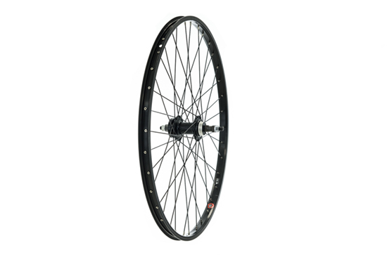26 X 1.75 Rear DISC Wheel, Black, Nutted Axle, Screw On