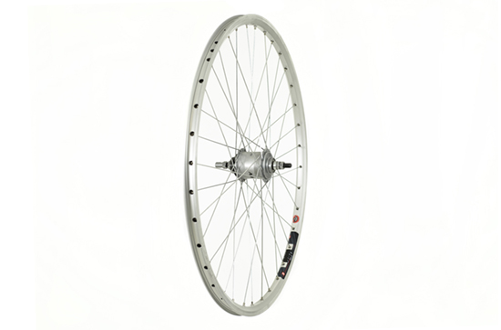 700C Rear Wheel, Mach1 240 rim, Sturmey Archer 3 speed hub, Silver.